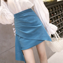 skirt Spring 2021 S,M,L,XL Black, blue, apricot Short skirt commute High waist skirt Solid color Type A 18-24 years old 9.6N fold Korean version