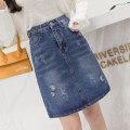 skirt Spring 2021 S,M,L,XL,2XL blue Mid length dress Versatile High waist Denim skirt 18-24 years old More than 95% polyester fiber