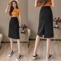skirt Spring 2021 S,M,L,XL Black, apricot, yellow Middle-skirt commute High waist skirt Solid color Type H 18-24 years old XX 71% (inclusive) - 80% (inclusive) other zipper Korean version