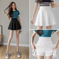 skirt Spring 2021 S,M,L,XL,2XL White, black Short skirt commute High waist Fluffy skirt Solid color Type A 18-24 years old Zz 31% (inclusive) - 50% (inclusive) other Korean version