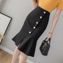skirt Summer 2021 S,M,L,XL,2XL,3XL,4XL,5XL Black, red Mid length dress commute High waist Ruffle Skirt Solid color Type X 18-24 years old Zz 31% (inclusive) - 50% (inclusive) other Asymmetric, button, zipper, stitching Korean version
