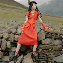 Dress Autumn of 2019 Orange (in stock) S,M,L Mid length dress singleton  Short sleeve commute Crew neck High waist houndstooth  Socket other Others 18-24 years old Type A Uncle Peter Pan Retro SQ16 51% (inclusive) - 70% (inclusive) knitting acrylic fibres