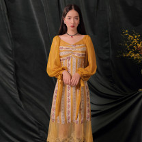 Dress Autumn of 2019 Turmeric decor (in stock) S,M,L longuette singleton  Long sleeves Sweet V-neck middle-waisted Decor puff sleeve Others 18-24 years old Type A Uncle Peter Pan 90624X2779 other polyester fiber princess