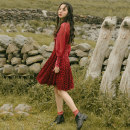 Dress Autumn of 2019 Burgundy Red (in stock) S,M,L Middle-skirt singleton  Long sleeves commute Crew neck High waist zipper A-line skirt routine Others 18-24 years old Type A Uncle Peter Pan Retro 90716F192 More than 95% other polyester fiber
