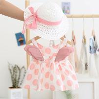 Dress summer princess cotton A-line skirt Dot female Other / other Other 100% 12 months, 6 months, 9 months, 18 months, 2 years, 3 years, 4 years Suspender skirt / vest skirt 1011 Pink, yellow 80cm,85cm,90cm,100cm