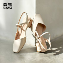 Sandals 35 36 37 38 39 BEIGE BLACK PU Senma / Senma Square head Thick heel Middle heel (3-5cm) Summer 2021 Flat buckle leisure time Solid color Adhesive shoes Youth (18-40 years old) TPU daily Rear trip strap Buckles Low Gang Lateral space PU PU Fashion sandals
