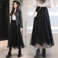 skirt Spring 2021 S,M,L,XL Mid length dress commute High waist A-line skirt Solid color Type A 18-24 years old 71% (inclusive) - 80% (inclusive) other polyester fiber Gauze Korean version 161g / m ^ 2 (including) - 180g / m ^ 2 (including)