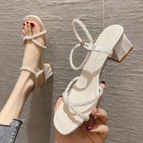 Sandals 35,36,37,38,39 Off white, champagne, silver PU Long fish Barefoot Thick heel Middle heel (3-5cm) Summer 2021 Flat buckle Korean version Solid color Adhesive shoes Youth (18-40 years old) rubber daily Back space Diamond, thick heel, pearl Low Gang Hollow PU PU Flat buckle Shaving