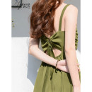 Dress Summer 2020 Green black red XS S M L XL Mid length dress singleton  Sleeveless commute V-neck High waist Solid color Socket A-line skirt camisole 25-29 years old Charming queen lady Butterfly dew back J20XQ4658 More than 95% polyester fiber Polyester 100% Pure e-commerce (online only)