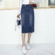 skirt Spring 2017 27 (2 feet), 28 (2 feet 1), 29 (2 feet 2), 30 (2 feet 3), 31 (2 feet 4), 32 (2 feet 5), 33 (2 feet 6), 34 (2 feet 7), 36 (2 feet 8), 40 (3 feet) blue Mid length dress grace Natural waist Denim skirt Solid color Type H 30-34 years old k-2899 71% (inclusive) - 80% (inclusive) Denim