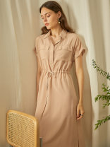 Dress Summer 2020 Warm sand (in stock), vegetation green (in stock) S,M,L Mid length dress Two piece set Short sleeve commute Polo collar Solid color Socket A-line skirt Others 25-29 years old Type H Yan'er's Secret Box 20HL1877 More than 95% silk