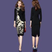 Dress Spring 2017 black S,M,L,XL,2XL,3XL Short skirt singleton  three quarter sleeve commute Elastic waist Socket One pace skirt Others Type X lady Embroidery, zipper knitting