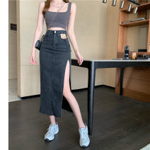skirt Spring 2021 S,M,L Black grey Mid length dress commute High waist Solid color Type A 18-24 years old 31% (inclusive) - 50% (inclusive) Korean version