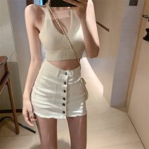skirt Summer 2020 S,M,L White, black Short skirt Versatile High waist A-line skirt Solid color Type A 18-24 years old Denim