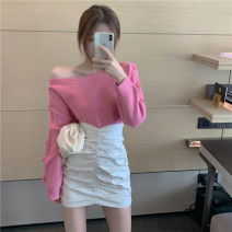 skirt Autumn 2020 Average size Rose pink sweater, leather skirt s, Leather Skirt M Short skirt commute High waist skirt Solid color 18-24 years old Korean version