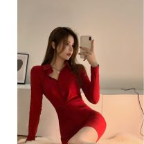 Dress Spring 2021 gules Average size Long sleeves commute other High waist routine 18-24 years old Korean version 31% (inclusive) - 50% (inclusive) other