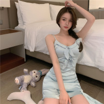 Dress Summer 2021 Blue dress, white cardigan S. M, l, average size Short skirt Two piece set commute V-neck High waist Solid color zipper One pace skirt camisole 18-24 years old Type A Retro