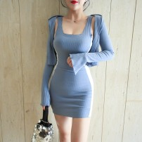 Dress Autumn of 2019 Blue, pink S, M Short skirt Two piece set Long sleeves street V-neck High waist Solid color Socket Pencil skirt pagoda sleeve Others 18-24 years old Type A Splicing 51% (inclusive) - 70% (inclusive) other cotton Sports & Leisure