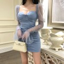 Dress Spring 2020 Blue, apricot S,M,L Short skirt singleton  Long sleeves commute square neck High waist Solid color zipper Pencil skirt routine Others 25-29 years old Type A Retro 81% (inclusive) - 90% (inclusive) organza  polyester fiber