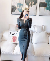 Dress Autumn of 2019 Black, dark grey S, M Mid length dress singleton  Long sleeves commute Crew neck middle-waisted Solid color other routine Others 25-29 years old 51% (inclusive) - 70% (inclusive) other cotton