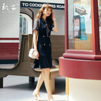 Dress Summer of 2019 Blue dress S M L XL XXL XXXL Mid length dress singleton  Short sleeve commute tailored collar High waist stripe zipper A-line skirt other Others 18-24 years old Qiu an Korean version Lace up zipper QA-CC8111 91% (inclusive) - 95% (inclusive) other polyester fiber