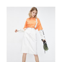 Dress Spring 2020 A01dirtywhite 155/76A/XS,160/80A/S,165/84A/M,170/88A/L,175/92A/XL Short skirt singleton  Short sleeve commute other middle-waisted Solid color One pace skirt other 18-24 years old ONLY Simplicity Pocket, strap Denim