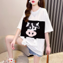 Lace / Chiffon Summer 2021 M,L,XL,2XL Short sleeve commute Socket singleton  easy Super short Crew neck routine 18-24 years old Printing, stitching and three-dimensional decoration Korean version 51% (inclusive) - 70% (inclusive) cotton