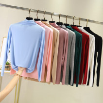 T-shirt M,L,XL,2XL Autumn of 2019 Long sleeves Pile collar Self cultivation Regular routine commute other 96% and above Simplicity classic Solid color Other / other 3D