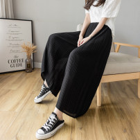 Casual pants Blue, black S,M,L,XL,2XL Summer 2021 Ninth pants Wide leg pants High waist commute Thin money 51% (inclusive) - 70% (inclusive) Korean version fold polyester fiber