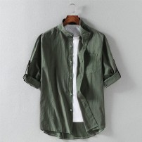 shirt Youth fashion Others M. L, XL, 2XL, 3XL, 4xl170-189 Jin, 5xl190-220 Jin White, black, army green, = [2pk] white + army green, = [2pk] black + white, = [2pk] Army Green + black, linen T-shirt routine stand collar elbow sleeve easy Travel? summer youth Chinese style 2021 Solid color Linen hemp