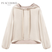 Sweater / sweater Autumn of 2019 oatmeal  S M L XL Long sleeves routine Socket routine Hood Straight cylinder Solid color 25-29 years old 96% and above Peacebird polyester fiber A1CD93414 Polyester 100% Same model in shopping mall (sold online and offline)