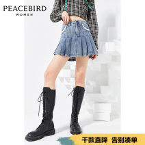 skirt Spring 2021 S M L XL Short skirt commute High waist A-line skirt Type A 25-29 years old More than 95% Peacebird cotton Simplicity Cotton 100% Exclusive payment of tmall