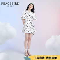 Dress Summer 2020 White (spot) white (pre-sale 1) white (pre-sale 2) S M L Mid length dress singleton  Short sleeve commute tailored collar Elastic waist other puff sleeve 25-29 years old Peacebird lady AWFAA2588 More than 95% cotton Cotton 100% Same model in shopping mall (sold online and offline)