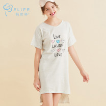 Nightdress Jaranfen 160(M) 165(L) Sweet Short sleeve Middle-skirt summer letter Crew neck cotton More than 95% Summer 2017 Cotton 100% Same model in shopping mall (sold online and offline)