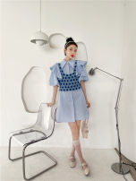 Dress Summer 2021 Light blue dress , Vest S, M Middle-skirt Two piece set Short sleeve street Solid color puff sleeve 30% and below cotton