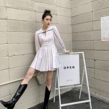 Dress Spring 2021 white XS,S,M,L Short skirt singleton  Long sleeves commute V-neck High waist Solid color Socket A-line skirt routine Type A Button Chiffon polyester fiber