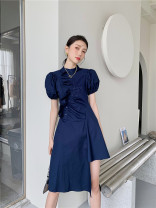 Dress Summer 2021 Navy - in stock S,M,L Mid length dress singleton  Short sleeve commute Crew neck High waist Solid color Single breasted A-line skirt puff sleeve Others 18-24 years old Other / other 31% (inclusive) - 50% (inclusive) polyester fiber