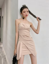 Dress Summer 2021 Nude color XS,S,M,L Short skirt singleton  Sleeveless High waist Solid color zipper Irregular skirt routine camisole Type A backless 91% (inclusive) - 95% (inclusive) other other