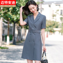 Dress Summer 2021 Grey (Short Sleeve Dress (belt) Purple (Short Sleeve Dress (belt) blue (Short Sleeve Dress (belt) S M L XL 2XL 3XL 4XL Mid length dress Short sleeve commute tailored collar Solid color double-breasted A-line skirt routine 25-29 years old Type A Mrtteadis / Andy Mette Korean version