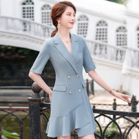 Dress Summer 2021 Black (dress) grey blue (dress) dark blue (dress) S M L XL 2XL 3XL 4XL Short skirt singleton  Short sleeve commute tailored collar middle-waisted Solid color double-breasted Irregular skirt routine 25-29 years old Type A Mrtteadis / Andy Mette lady fold GA6139KYSc50CH