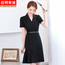 Dress Summer 2021 Black (dress) S M L XL 2XL 3XL 4XL Middle-skirt singleton  Short sleeve commute tailored collar middle-waisted Solid color double-breasted Ruffle Skirt routine Others 25-29 years old Type H Mrtteadis / Andy Mette Korean version Button GA6139KCAH2115CH 30% and below nylon
