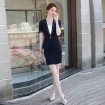 Professional dress suit S M L XL XXL XXXL XXXXL Blue (short sleeve suit) blue (short sleeve suit + skirt) black (short sleeve suit) black (short sleeve suit + skirt) green (short sleeve suit) green (short sleeve suit + skirt) Summer 2021 GA6139KJUY697CH Coat other styles 25-35 years old 96% and above