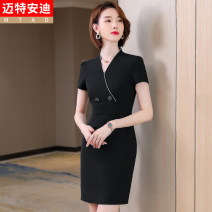 Dress Summer 2021 Black (dress) blue (dress) S M L XL 2XL 3XL 4XL Middle-skirt singleton  Short sleeve commute V-neck middle-waisted Solid color other other routine 25-29 years old Type H Mrtteadis / Andy Mette Simplicity Button GA6139KR5021CH More than 95% other polyester fiber