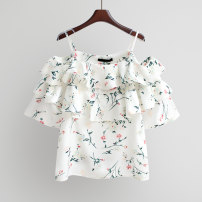 Lace / Chiffon Spring 2021 Blue, white Average size Short sleeve commute Socket singleton  easy have cash less than that is registered in the accounts other Decor routine 18-24 years old Lotus leaf edge Korean version 96% and above