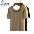 T-shirt S M L XL XXL Spring 2021 elbow sleeve Crew neck Self cultivation Regular routine commute cotton 96% and above 25-29 years old Korean version Solid color Jiadieni Cotton 97% polyurethane elastic fiber (spandex) 3% Pure e-commerce (online only)