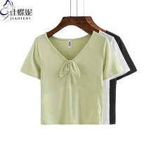 T-shirt White black mustard green S M L XL XXL Summer 2021 Short sleeve V-neck Self cultivation Regular routine commute cotton 96% and above 25-29 years old Korean version Solid color Jiadieni Cotton 97% polyurethane elastic fiber (spandex) 3% Pure e-commerce (online only)