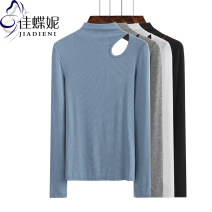 T-shirt S M L XL XXL Winter 2020 Long sleeves Half high collar Self cultivation Regular routine commute cotton 96% and above 25-29 years old Korean version Solid color Jiadieni Cotton 97% polyurethane elastic fiber (spandex) 3% Pure e-commerce (online only)