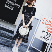 Dress Summer of 2019 Picture color S,M,L,XL,2XL,3XL Mid length dress singleton  Long sleeves commute V-neck High waist Broken flowers Socket A-line skirt other camisole 18-24 years old Type A Korean version Ruffle, stitching, swallow tail 51% (inclusive) - 70% (inclusive) Chiffon polyester fiber
