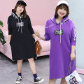 Dress Autumn of 2018 Purple, black XL,2XL,3XL,4XL Mid length dress singleton  Long sleeves commute Hood middle-waisted Socket 25-29 years old Sticking cloth 51% (inclusive) - 70% (inclusive) cotton