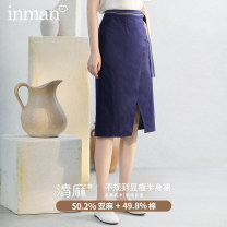 skirt Summer 2020 S,M,L,XL Navy Blue Middle-skirt High waist Pencil skirt Solid color Type A 25-29 years old Inman / Inman